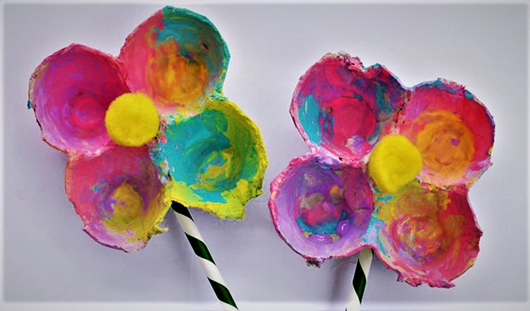 egg carton flowers mother's day activities for toddlers