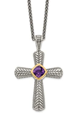good friday gifts for women Sterling Silver 14k Yellow Gold Amethyst Purple February Gemstone Cross Pendant Necklace