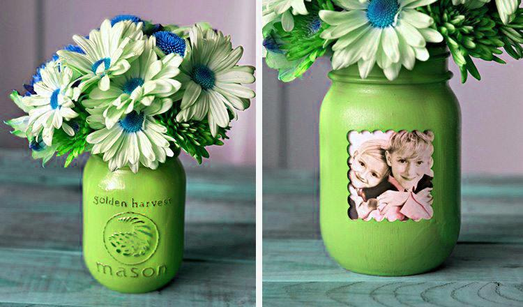 mason jar picture frame vases