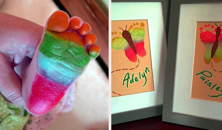 rainbow butterfly footprint artwork