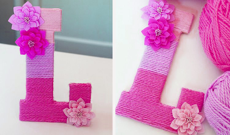 yarn ombre monogrammed letter mother's day activities for toddlers