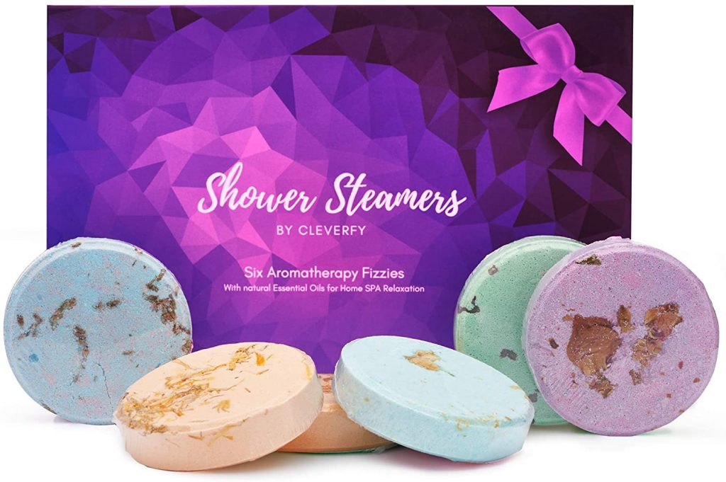 Cleverfy Aromatherapy Shower Steamers - Variety Pack of 6 Shower Bombs with Essential Oils for Mothers Day best gift 2021
