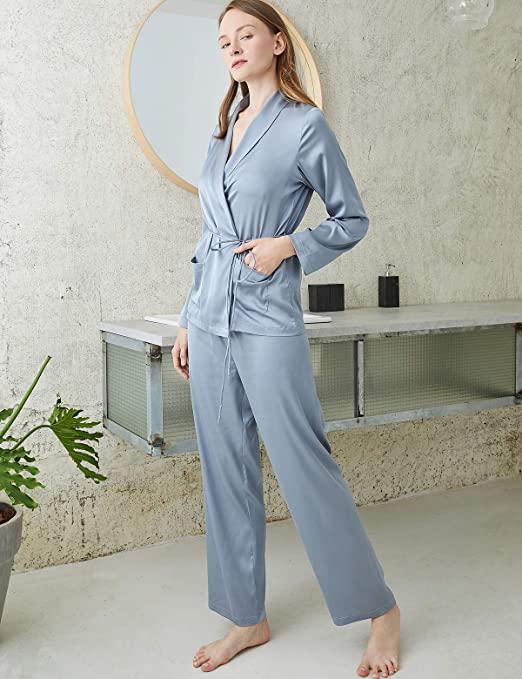 Escalier Womens Silk Satin Pajamas Set