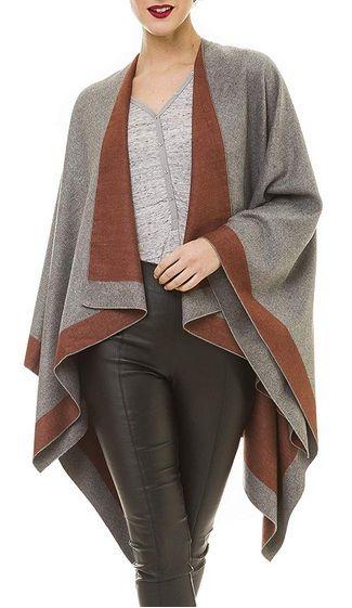 Women's Shawl Wrap Poncho Ruana Cape Cardigan Sweater