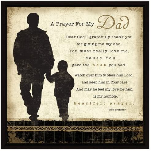 Dad Prayer Wood Framed Plaque Father Inspiring Quote memorial day gifts