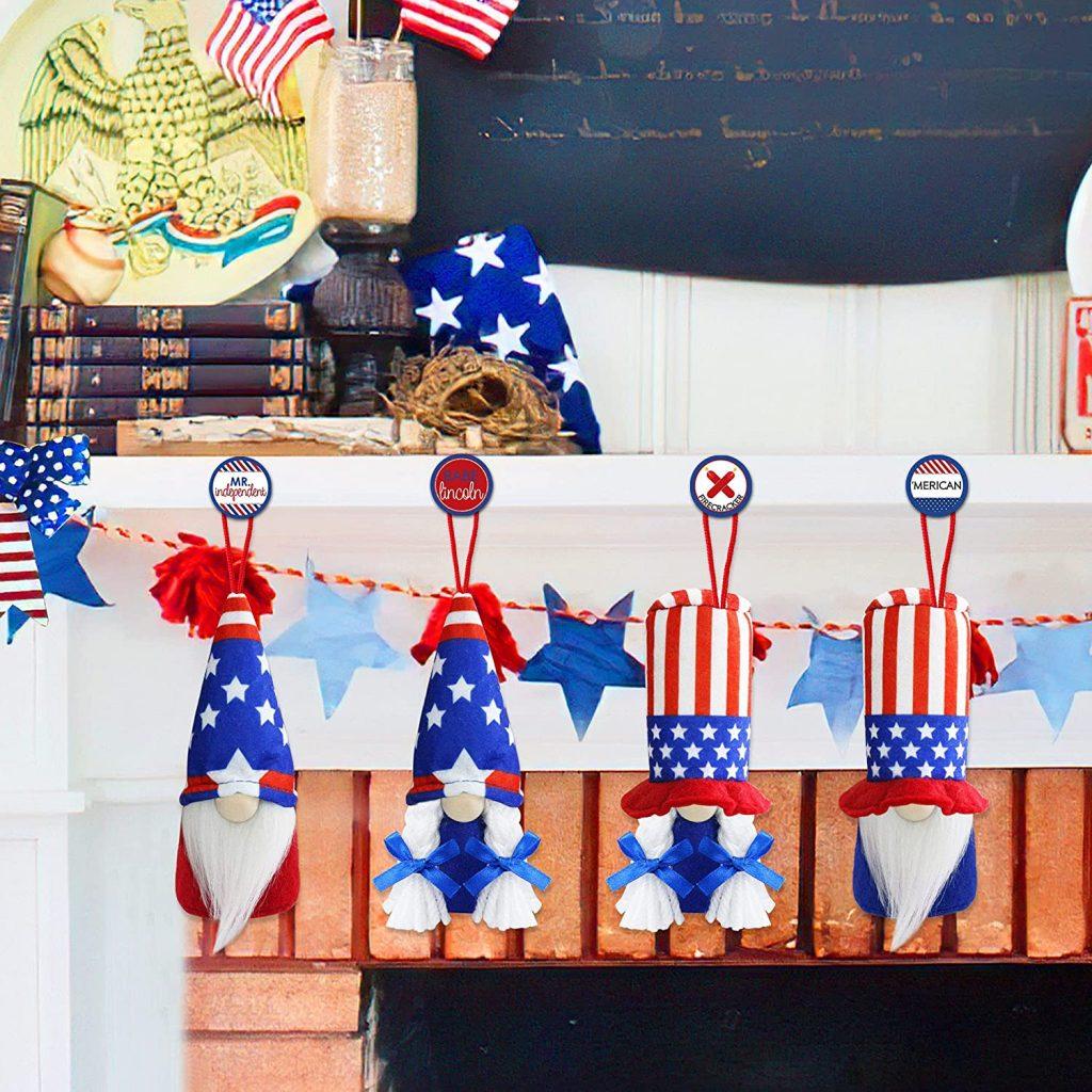 Handmade Patriotic Gnomes Ornaments Stars memorial day gifts