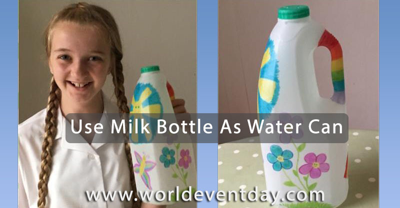 Turn an old milk bottle into a watering can
